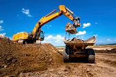 Industrial truck loader excavator moving earth and unloading into a dumper truck