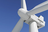 Industrial wind turbine on the sky background. Closeup 3d.