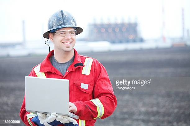 Industrial Worker in a red uniform
