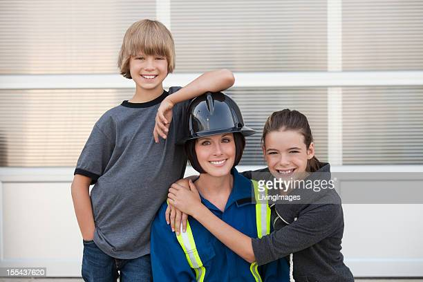 Industrial Worker with her Kids