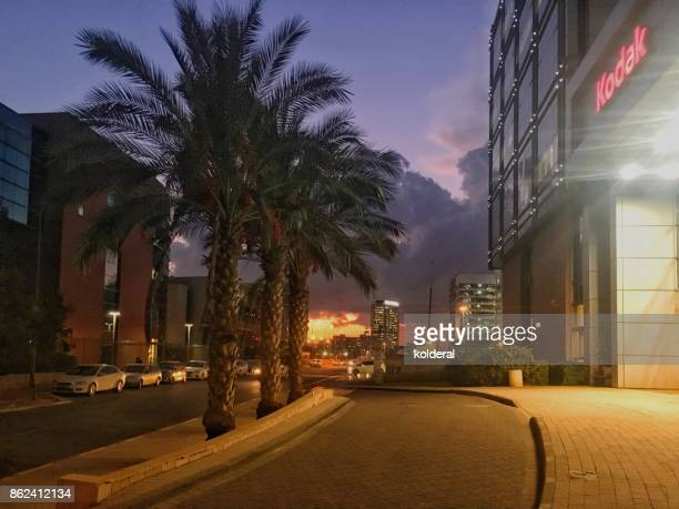 Industrial zone Kodak building entrance at twilight