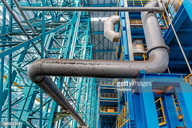 Industrial zone, steel pipelines and cables  in a  plant