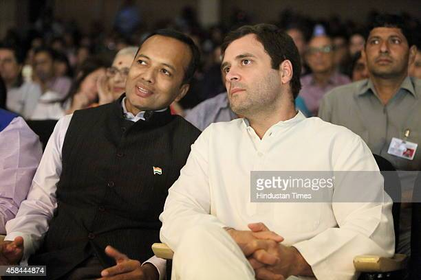 Industrialist and Congress leader Naveen Jindal with Congress vice president Rahul Gandhi during a solo Kuchipudi dance performance by Shallu Jindal...