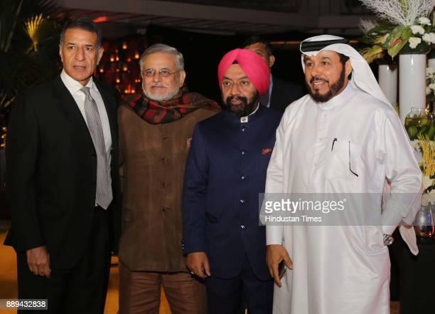 Industrialist Rajan Mittal Vikramjit Singh Sahney and Ali Al Sanadi during a Gala evening showcasing fusion of Indian International Culture at...