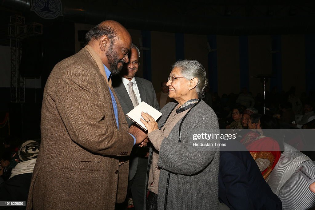 Industrialist Shiv Nadar and former chief minister of Delhi <a gi-track='captionPersonalityLinkClicked' href=/galleries/search?phrase=Sheila+Dikshit&family=editorial&specificpeople=728110 ng-click='$event.stopPropagation()'>Sheila Dikshit</a> during Swami Haridas Tansen Sangeet Nritya Mahotsavon at FICCI Auditorium on January 9, 2015 in New Delhi, India. The three day event organized by Bharatiya Sangeet Sadan and Shri Ram Centre For Performing Arts includes performances by exponents in the field of music and dance.