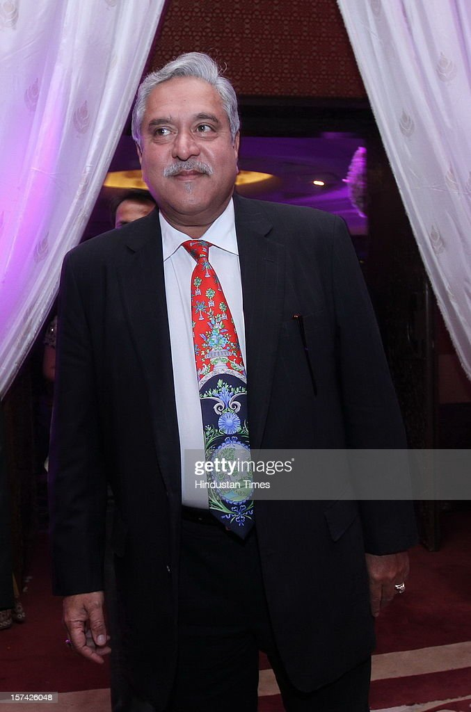 Industrialist Vijay Mallya attending the marriage reception of YES Bank founder Rana Kapoor's daughter at Taj Palace on November 30, 2012 in New Delhi, India. Kapoor is the MD & CEO of YES Bank, which is the 4th largest private sector bank in the country.