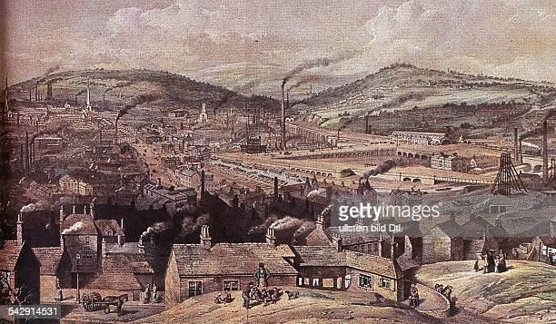 Industrialization in Middle England View of the industrial area of Sheffield Colored engraving around 1850