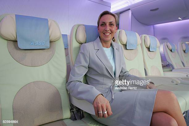 Industrie part of the European Aeronautic Defence and Space Company displays the economy class interior on the new Aircraft A380 at the Aircraft...