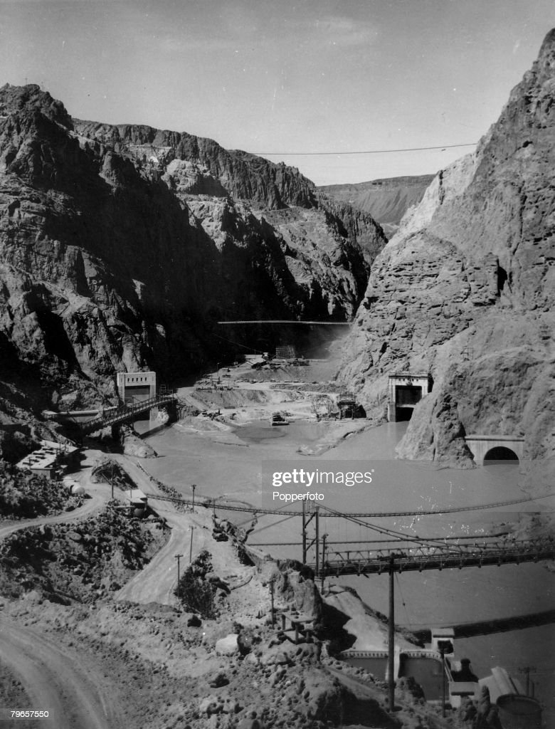 circa 1933, The Hoover (Boulder) Dam on the Nevada/Arizona border under construction, built between 1930-1936, 726 feet high and 1244 feet long