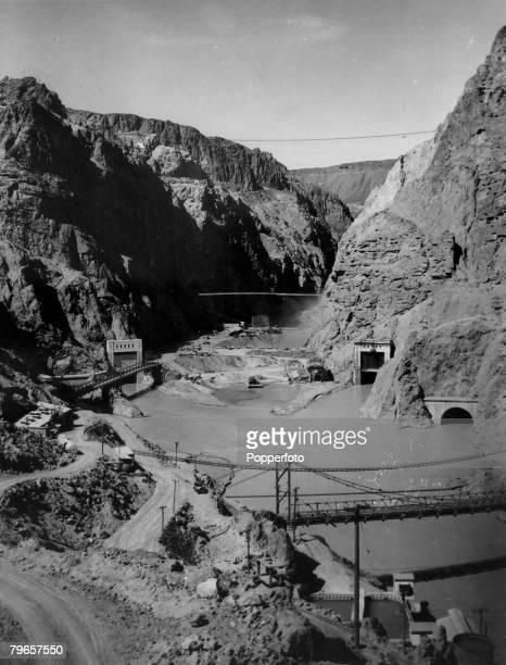 circa 1933 The Hoover Dam on the Nevada/Arizona border under construction built between 19301936 726 feet high and 1244 feet long