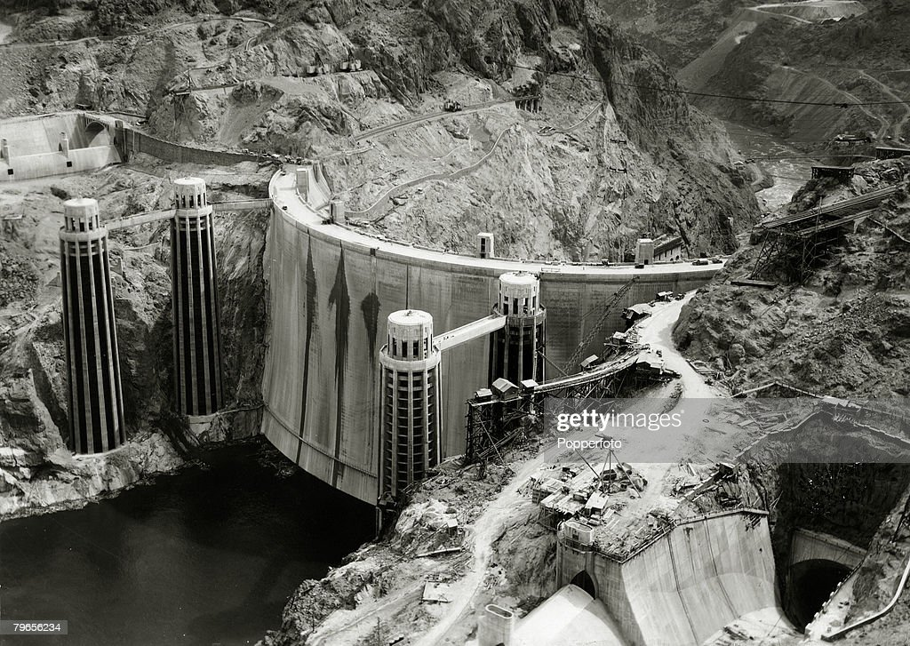circa 1934, The Hoover (Boulder) Dam on the Nevada/Arizona border built between 1930-1936, 726 feet high and 1244 feet long