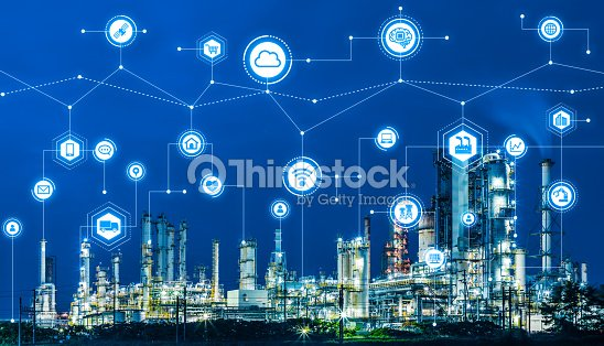 Industry4.0 and IoT(Internet of Things). Factory automation system. AI(Artificial Intelligence). : Stock Photo