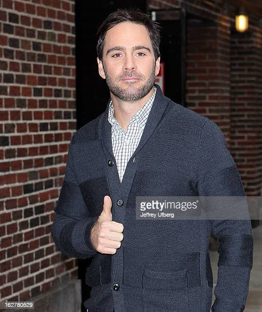 Indy 500 winner Jimmie Johnson arrives to 'Late Show with David Letterman' at Ed Sullivan Theater on February 26 2013 in New York City