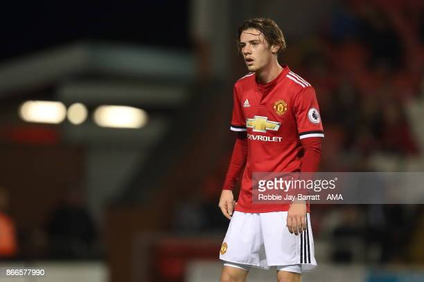 Indy Boonen of Manchester United during the Premier League 2 fixture between Manchester United and Liverpool at Leigh Sports Village on October 23...