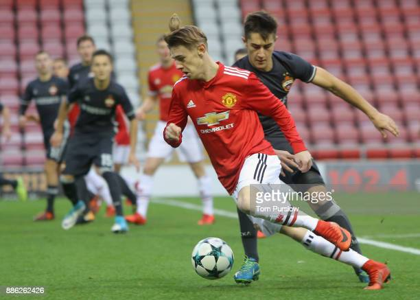 Indy Boonen of Manchester United U19s in action during the UEFA Champions League group A match between Manchester United and CSKA Moskva at Leigh...