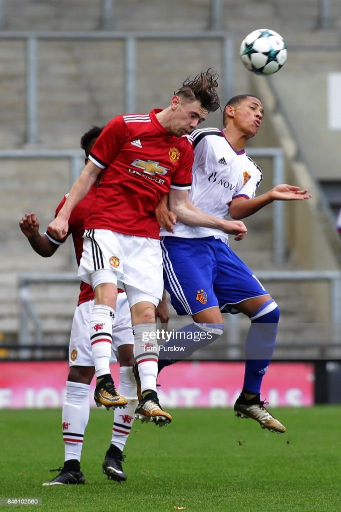 Indy Boonen of Manchester United U19s in action during the UEFA Youth League match between Manchester United U19s and FC Basel U19s at Leigh Sports Village on September 12, 2017 in Leigh, Greater Manchester.
