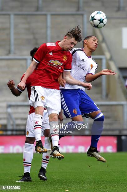 Indy Boonen of Manchester United U19s in action during the UEFA Youth League match between Manchester United U19s and FC Basel U19s at Leigh Sports...