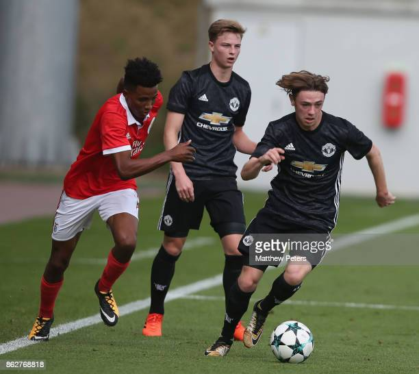 Indy Boonen of Manchester United U19s in action during the UEFA Youth League match between Benfica U19s and Manchester United U19s at Caixa Futebol...