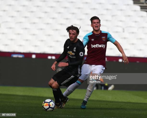 LR Indy Boonen of Manchester United's Under 23and West Ham United U23s Sam Byram during Premier League 2 Division 1 match between West Ham United...