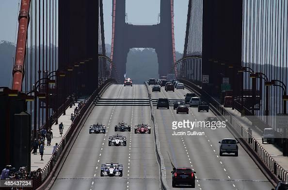 Indy Cars Drive Over Golden Gate Bridge