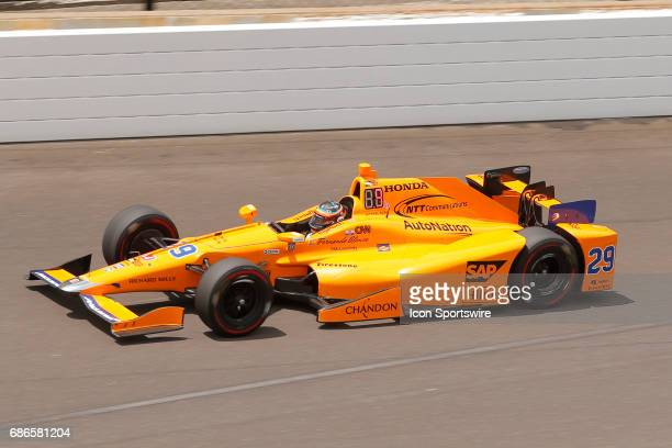 Indycar driver Fernando Alonso of McLarenHondaAndretti during practice prior to pole day qualifications for the Indianapolis 500 on May 21 at the...