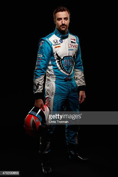 IndyCar driver James Hinchcliffe of Canada poses for a portrait during the IZOD IndyCar Series Media day at the Amway Center on February 18 2014 in...