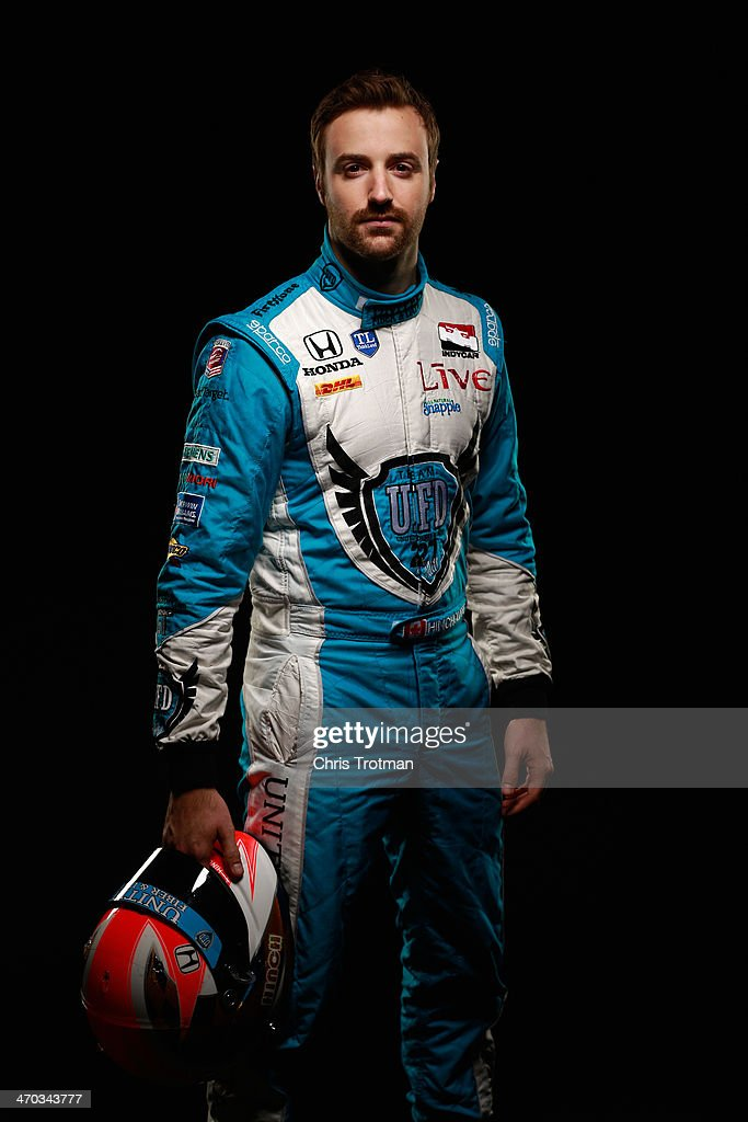 IndyCar driver <a gi-track='captionPersonalityLinkClicked' href=/galleries/search?phrase=James+Hinchcliffe&family=editorial&specificpeople=4024510 ng-click='$event.stopPropagation()'>James Hinchcliffe</a> of Canada poses for a portrait during the IZOD IndyCar Series Media day at the Amway Center on February 18, 2014 in Orlando , Florida.