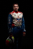 IndyCar driver Justin Wilson of England poses for a portrait during the IZOD IndyCar Series Media day at the Amway Center on February 18 2014 in...