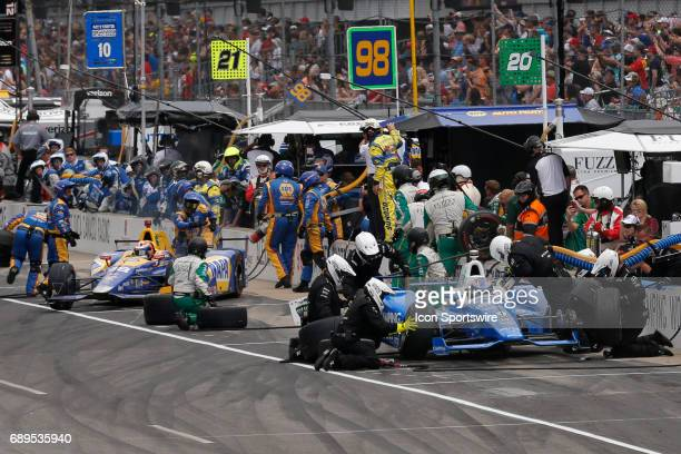 Indycar driver Scott Dixon of Chip Ganassi Racing comes in for a pit stop during the 101st running of the Indianapolis 500 on May 28 at the...
