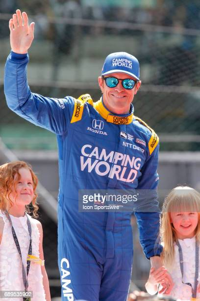 Indycar driver Scott Dixon of Chip Ganassi Racing during driver introductions at the 101st running of the Indianapolis 500 on May 28 at the...