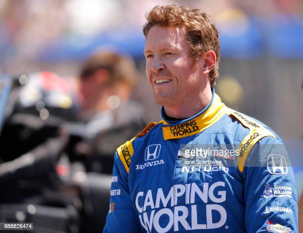 Indycar driver Scott Dixon of Chip Ganassi Racing during the pit stop competetion at Carb Day on May 26 at the Indianapolis Motor Speedway in...