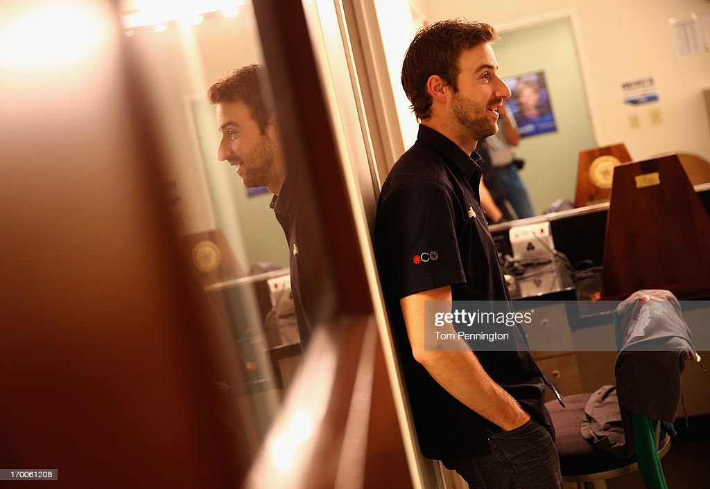 IndyCar Series driver <a gi-track='captionPersonalityLinkClicked' href=/galleries/search?phrase=James+Hinchcliffe&family=editorial&specificpeople=4024510 ng-click='$event.stopPropagation()'>James Hinchcliffe</a> waits to co-hosts The Fan Sports Show with anchor Bill Jones at the TXA television studio on June 6, 2013 in Fort Worth, Texas.