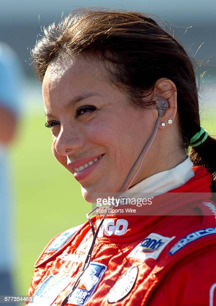 IndyCar Series driver Milka Duno driver of the No23 CITGO/Dreyer Reinhold Racing car relaxes before qualifying for the Bombardier Learjet 550k at...