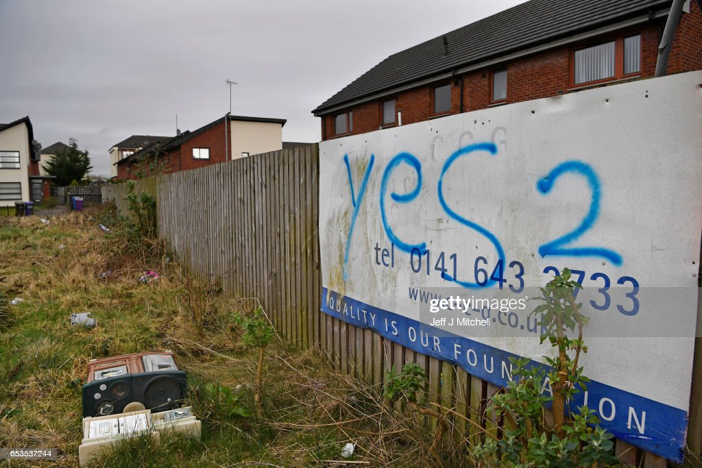 Indyref2 graffiti is sprayed on a sign in the East End on March 15, 2017 in Glasgow, Scotland.Scotland's First Minister Nicola Sturgeon has confirmed she will ask for permission to hold a second Scottish independence referendum.