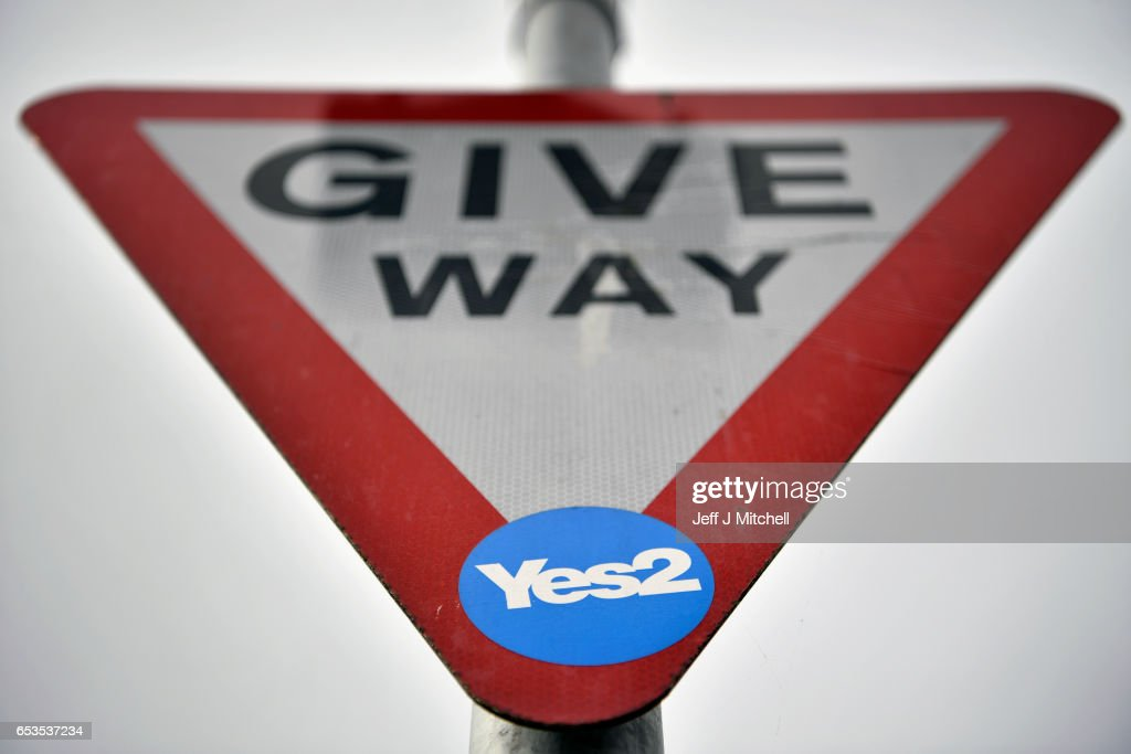Indyref2 sticker has been placed on a give way road sign on March 15, 2017 in Glasgow, Scotland.Scotland's First Minister Nicola Sturgeon has confirmed she will ask for permission to hold a second Scottish independence referendum.