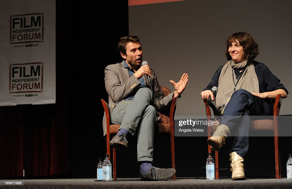 'Inequality For All' producer Sebastian Dungan speaks as 'Afternoon Delight' writer/director Jill Soloway listens onstage at the Film Independent...