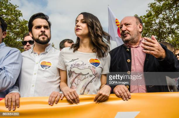 Ines Arrimadas political leader of citizens at the head of the demonstration Hispanic Heritage Day is being celebrated across Spain Loyalist...