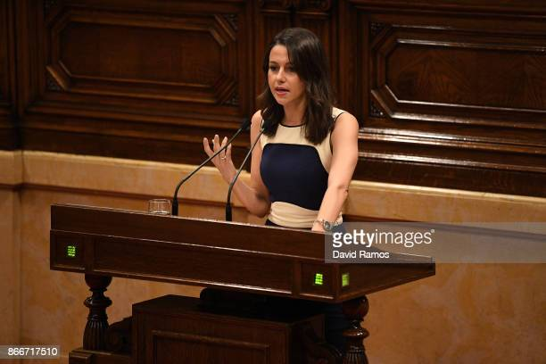 Ines Arrimadas spokeperson of Ciudadanos party speaks during a meeting at the Catalan Government building Generalitat de Catalunya on October 26 2017...