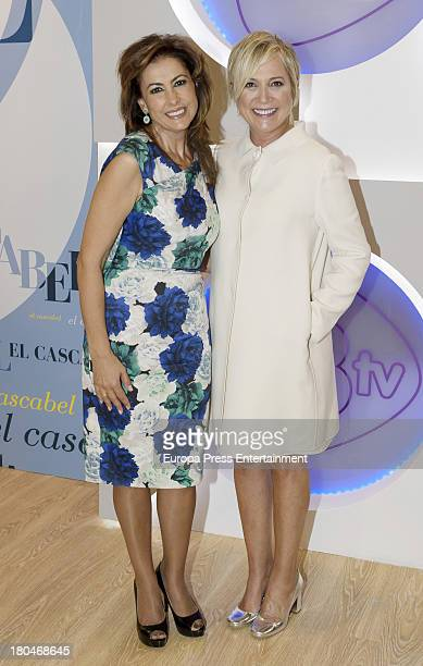 Ines Ballester and Irma Soriano present the new season of 13TV channel on September 9 2013 in Madrid Spain