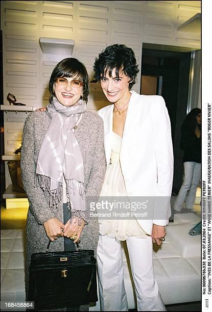Ines De La Fressange and Anne Marie Perier at Inauguration Of Roger Vivier Salon