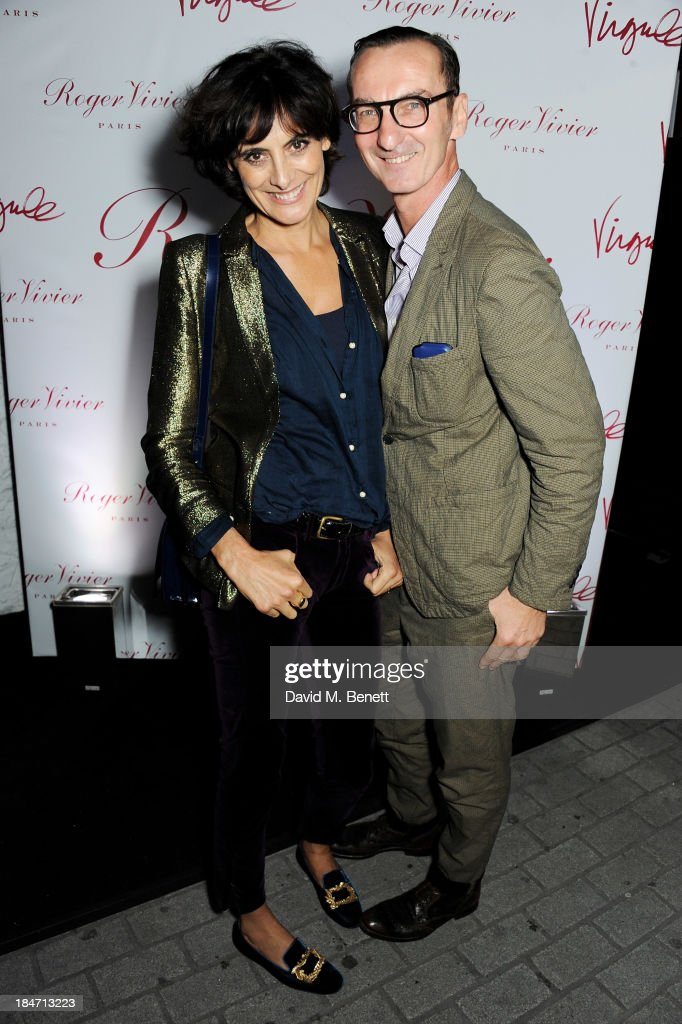 <a gi-track='captionPersonalityLinkClicked' href=/galleries/search?phrase=Ines+de+la+Fressange&family=editorial&specificpeople=2078500 ng-click='$event.stopPropagation()'>Ines de la Fressange</a> (L) and Bruno Frisoni attend the Roger Vivier Virgule London launch party hosted by Atlanta de Cadenet, <a gi-track='captionPersonalityLinkClicked' href=/galleries/search?phrase=Ines+de+la+Fressange&family=editorial&specificpeople=2078500 ng-click='$event.stopPropagation()'>Ines de la Fressange</a> and Bruno Frisoni, Creative Director of Roger Vivier, at Le Baron on October 15, 2013 in London, England.