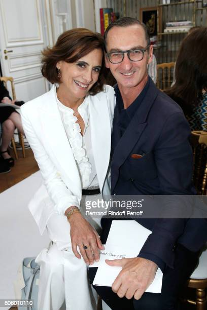 Ines de la Fressange and Bruno Frisoni attend the Schiaparelli Haute Couture Fall/Winter 20172018 show as part of Haute Couture Paris Fashion Week on...