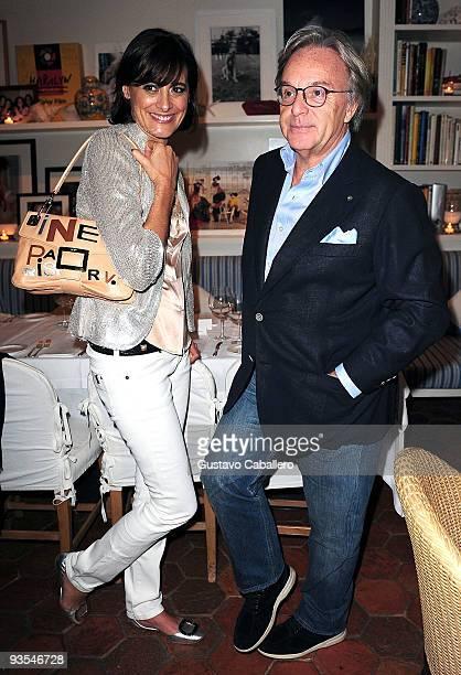 Ines De La Fressange and Diego Della Valle attend a private dinner for Roger Vivier at Casa Tua on December 1 2009 in Miami Beach Florida