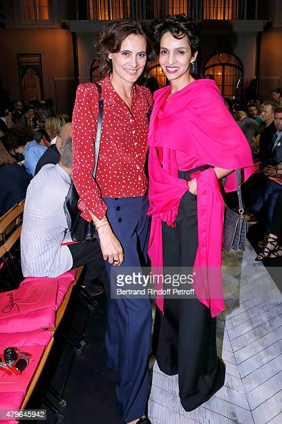 Ines de la Fressange and Farida Khelfa Seydoux attend the Schiaparelli show as part of Paris Fashion Week Haute Couture Fall/Winter 2015/2016 on July...