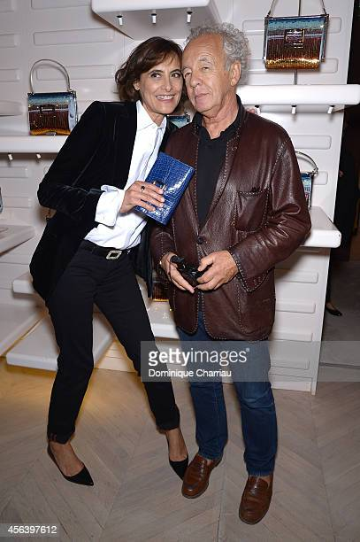Ines de la Fressange and Gilles Bensimon attend Roger Vivier Cocktail Event Honouring Ambra Medda as part of Paris Fashion Week Womenswear...