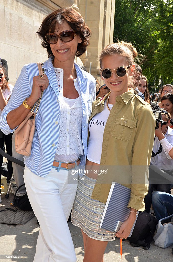 Ines De La Fressange and her daughter Violette d' Urso attend the Chanel show as part of Paris Fashion Week Haute-Couture Fall/Winter 2013-2014 at the Grand Palais on July 2, 2013 in Paris, France.