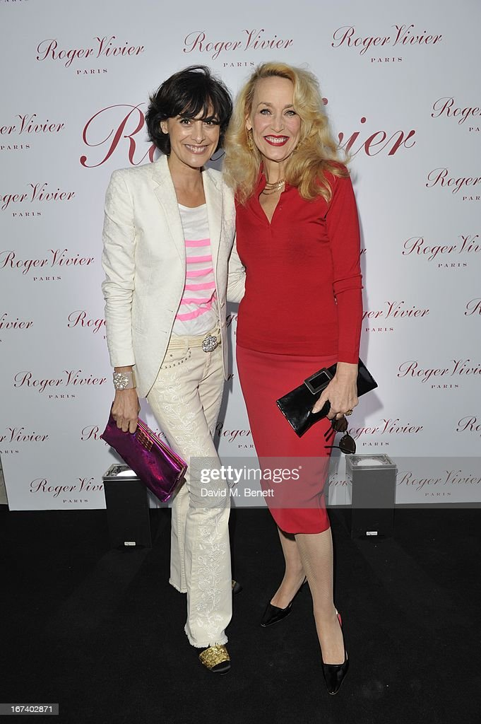 Ines de la Fressange and Jerry Hall arrives at the Roger Vivier Book published by Rizzoli UK launch party at Saatchi Gallery on April 24, 2013 in London, England.