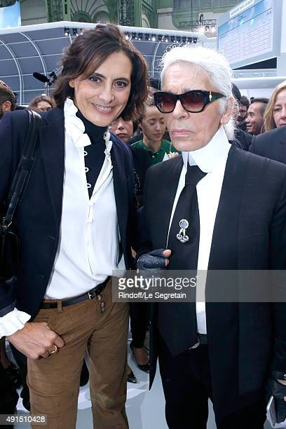 Ines de la Fressange and Karl Lagerfeld pose after the Chanel show as part of the Paris Fashion Week Womenswear Spring/Summer 2016 on October 6 2015...