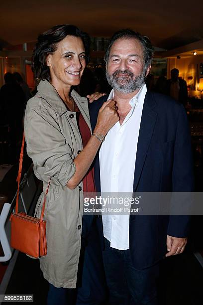Ines de La Fressange and President of Lagardere Active and CEO of 'Europe 1' Denis Olivennes attend the 'Cezanne et Moi' Premiere on September 5 2016...