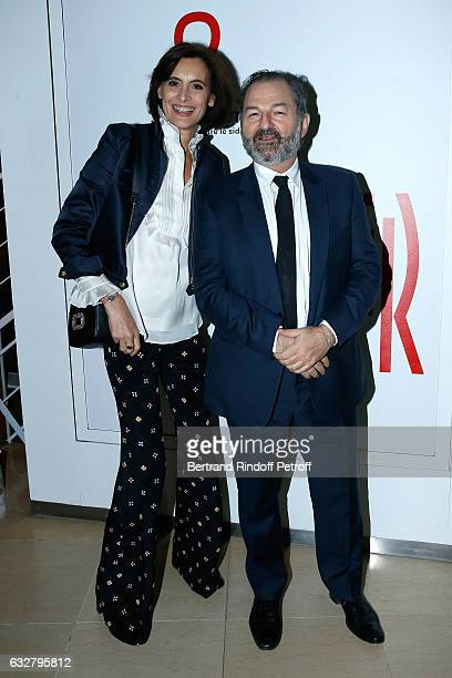 Ines de La Fressange and President of Lagardere Active and CEO of 'Europe 1' Denis Olivennes attend the Sidaction Gala Dinner 2017 Haute Couture...